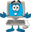 Royalty-free cartoon styled clip art graphic of a desktop computer cartoon character